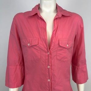 Standard James Perse Sz 4 Contrast Shirt FLAW HOLE